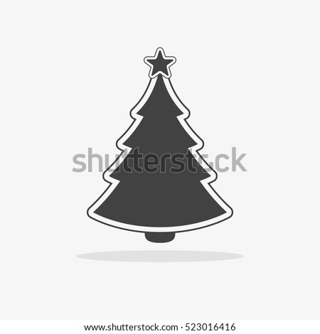 christmas tree icon flat vector