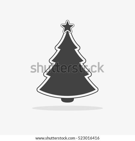 christmas tree icon flat vector