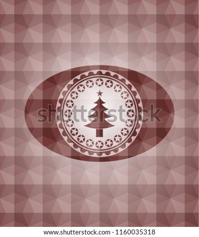Stock Photo christmas tree icon inside red badge with geometric pattern. Seamless.