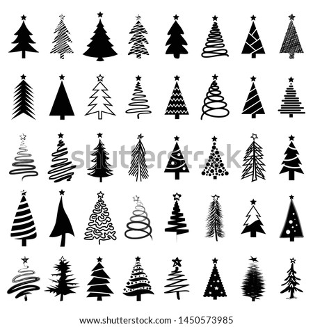 Christmas tree icon, logo or symbol set for new year card and design