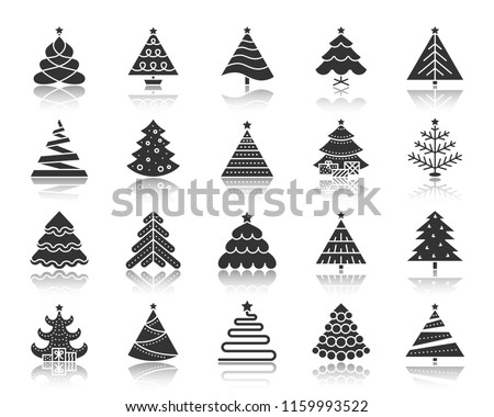 Christmas Tree icon set. Sign kit of xmas spruce. Stylized pictogram collection includes december party, pine cone, star ornament. Simple vector black symbol. Christmas Tree of different shapes icons
