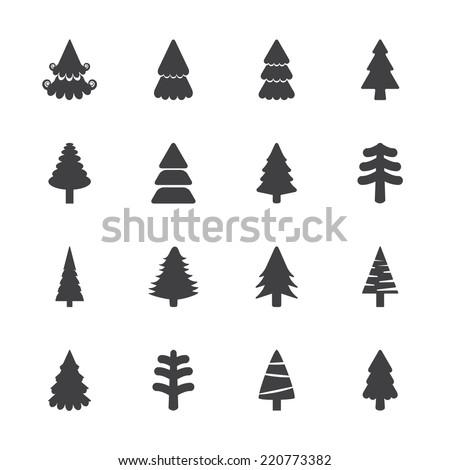 christmas tree icon set, vector eps10.