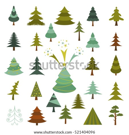 Christmas tree icon set. Xmas decoration. Flat design. Colour version. Vector illustration