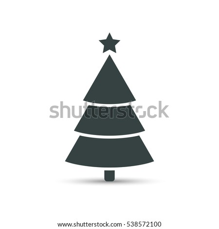 Christmas tree icon with star, vector simple design. Black symbol of fir-tree, isolated on white. #538572100