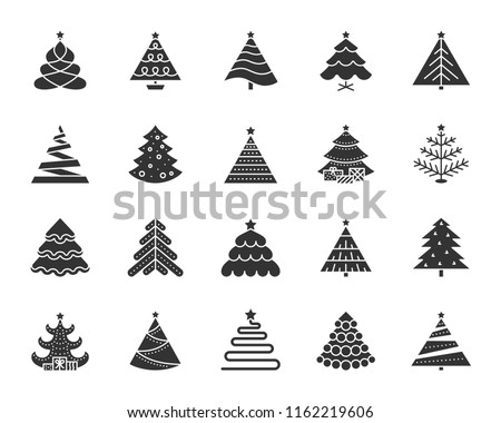 Christmas Tree Icons Set Sign Kit Of Xmas Trendy Spruce Stylized Pictogram Collection Includes