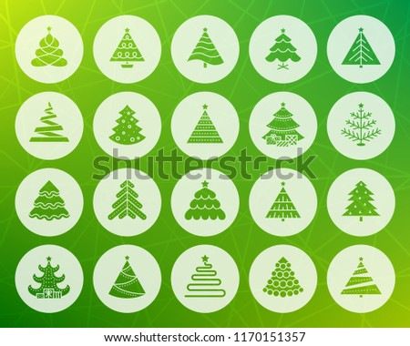 Christmas Tree icons set Sign kit stylized spruce Fir Farm pictogram collection pine cone, merry xmas, winter spruce Simple christmas tree vector symbol Icon shape carved from circle colorful backdrop