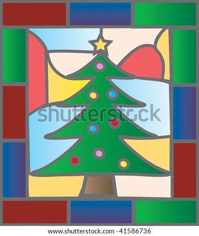 Christmas tree illustration in a stained glass window style