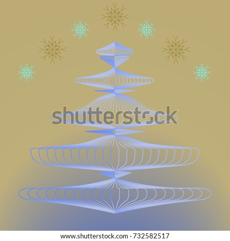 Christmas tree in frost and falling snowflakes.Vector illustration with outline objects in minimalist style. For season greeting cards, posters, advertisement.