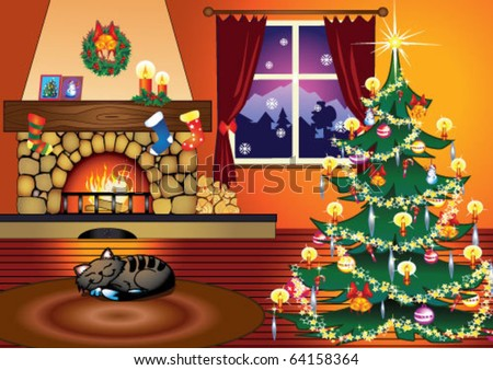 Christmas tree in home living room with fire place and sleeping cat.