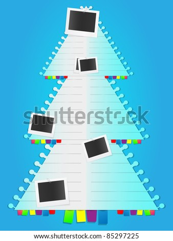 Christmas tree in lined notebook list style with photo cards