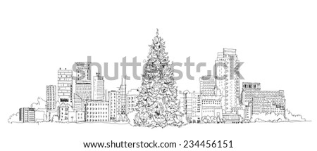 Christmas Tree In London Sketch Collection Stock Vector Illustration 234456151  Shutterstock