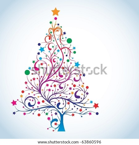 Christmas tree in rainbow colors, vector illustration