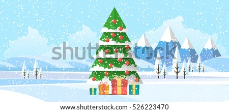Christmas Tree in Winter Landscape Abstract Flat Illustration.