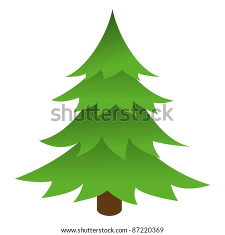 Christmas tree isolated on a white background. Vector illustration.