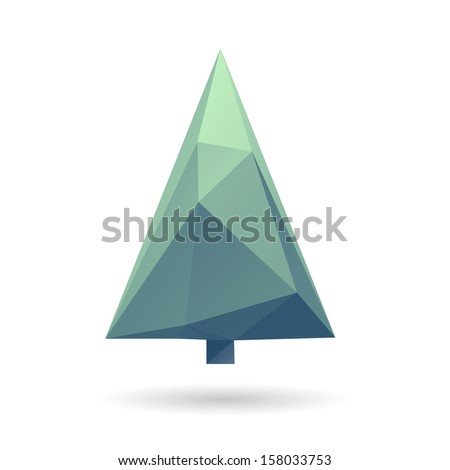 Christmas tree isolated on a white backgrounds, vector illustration