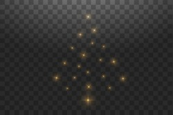 Christmas Tree made. Gold glitter bokeh lights and sparkles. Shining star, sun particles and sparks with lens flare effect on transparent background