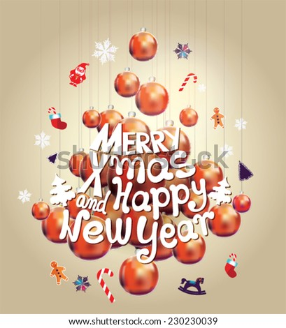 Christmas tree made of Christmas balls. Christmas card. Merry X-mas and Happy New Year.