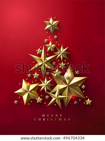 Christmas Tree made of Cutout Gold Foil Stars on Red Background. Chic Christmas Greeting Card. #496704334