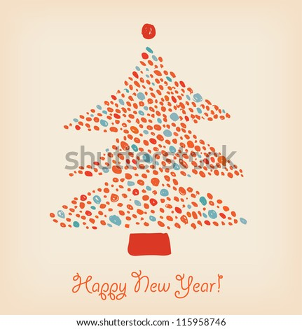 Christmas tree made of dots. Element for holiday design. Retro cute card template
