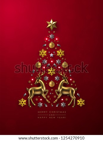Christmas Tree made of Festive Elements,  Glass Decorations, Sparkling Snowflakes, Gold Stars and deer. Flat lay, top view.
