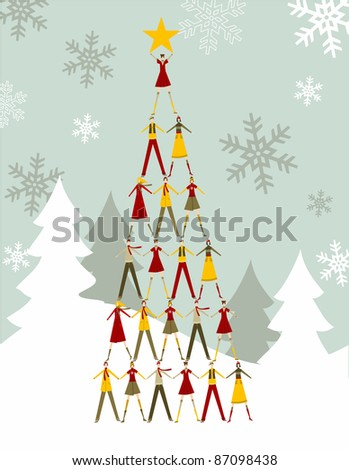 Stock Photo Christmas tree made of  people with a yellow star on the top over a snowy background.   Vector file available.