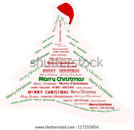 Christmas tree made of words , vector illustration - stock vector