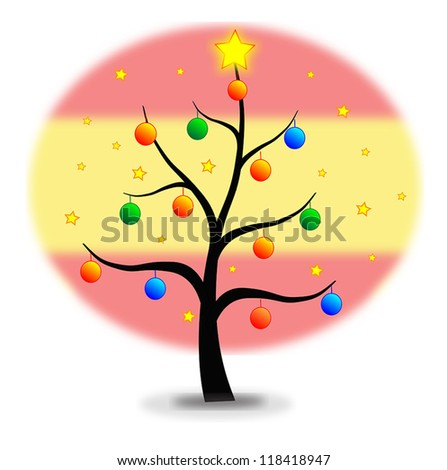 Christmas tree made with stars and balls and flag of Spain background