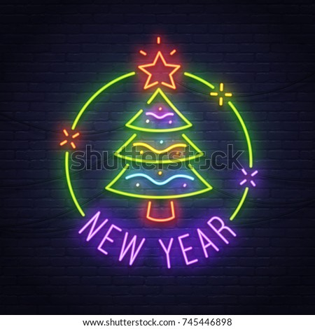 Christmas tree neon sign. Neon sign. New Year banner, logo, emblem and label. Bright signboard, light banner.