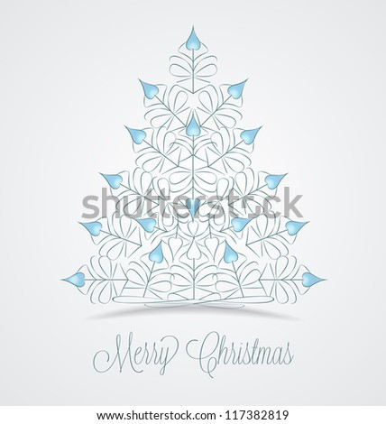 Christmas tree on a gray background - stock vector