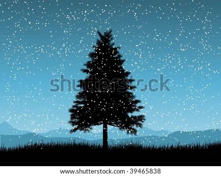 Christmas tree on a snowy night