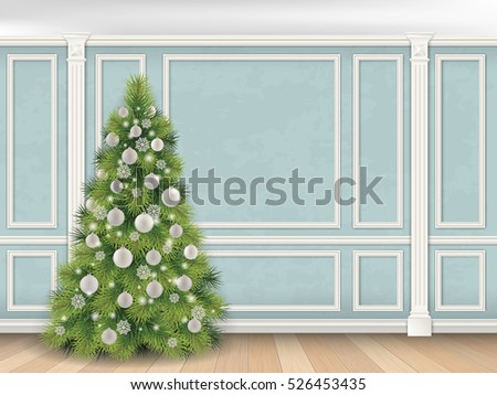 christmas tree on blue wall