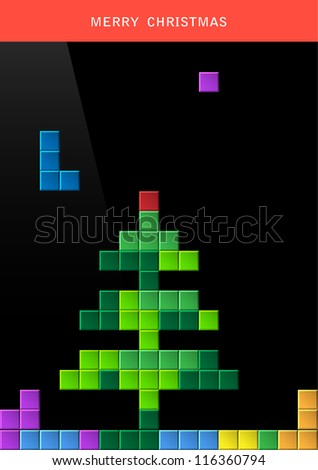 Christmas tree on game computer screen. Stylized vector illustration