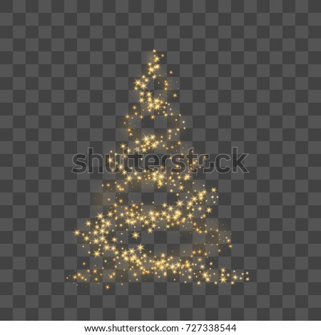 Christmas tree on transparent background. Gold Christmas tree as symbol of Happy New Year, Merry Christmas holiday celebration. Golden light decoration. Bright shiny design Vector illustration #727338544