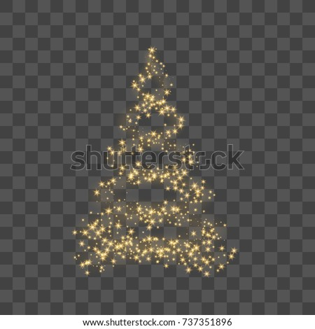 Christmas tree on transparent background. Gold Christmas tree as symbol of Happy New Year, Merry Christmas holiday celebration. Golden decoration. Bright design Vector illustration #737351896