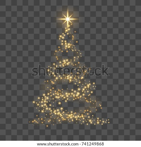 Stock Photo Christmas tree on transparent background. Gold Christmas tree as symbol of Happy New Year, Merry Christmas holiday celebration. Golden light decoration. Bright shiny design Vector illustration