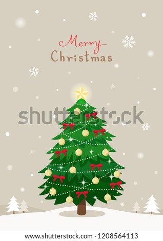 Christmas tree on winter background