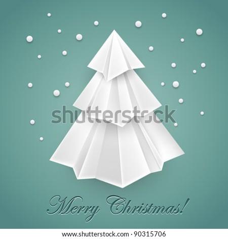 Christmas tree origami - stock vector