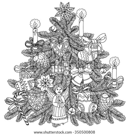 Stock Photo Christmas tree ornament with decorative items, Black and white . Zentangle patters.  The best for your design, textiles, posters, coloring book