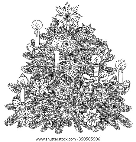 Stock Photo Christmas tree ornament with decorative items, Black and white. Zentangle patters.  The best for your design, textiles, posters, coloring book