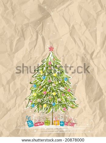 christmas tree  over  crumple background, vector illustration