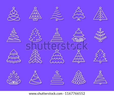 Christmas Tree paper cut line icons set. 3D sign kit of stylized spruce. Fir Farm linear pictogram collection fir, spruce. Simple christmas tree vector paper carved icon shape. Material design symbol