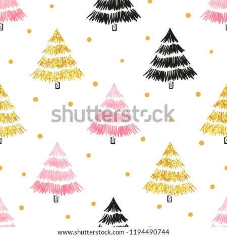 Christmas tree seamless pattern in black, golden and pink  colors.