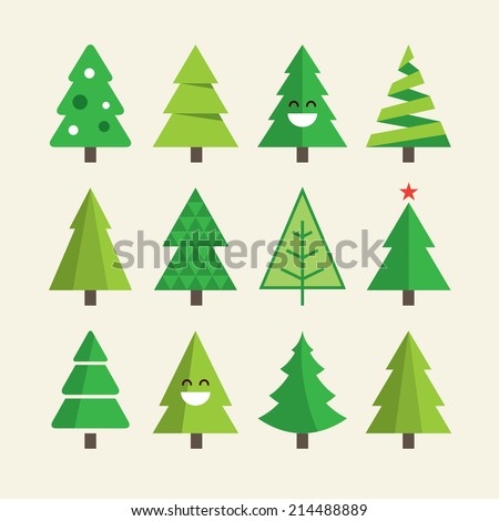 stock-vector-christmas-tree-set