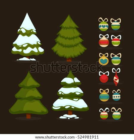 christmas tree set of  green