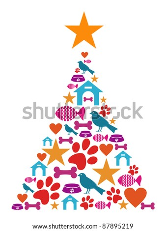 Christmas tree shape made with pets icons set.
