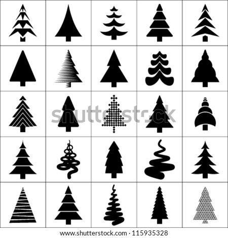 Christmas tree silhouette design vector set. Concept tree icon collection.Isolated on white background.