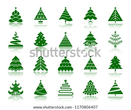 Christmas Tree silhouette icons set. Sign kit of stylized spruce. Fir Farm pictogram pine, winter spruce, merry xmas. Simple christmas tree contour symbol reflection. Vector Icon shape isolated white