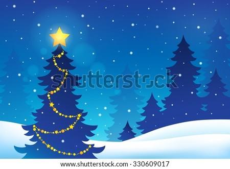 christmas tree silhouette topic