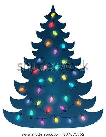 christmas tree silhouette topic