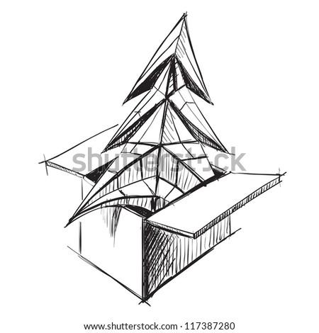 Christmas tree sketch vector illustration